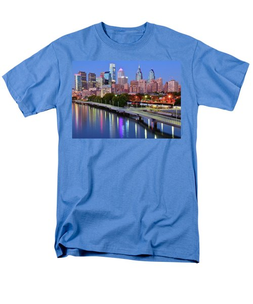 Men's T-Shirt  (Regular Fit) featuring the photograph Evening Lights On The Delaware by Frozen in Time Fine Art Photography