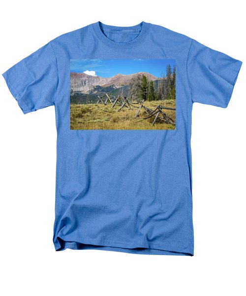 Men's T-Shirt  (Regular Fit) featuring the photograph Fences Into The Rockies by Dawn Romine