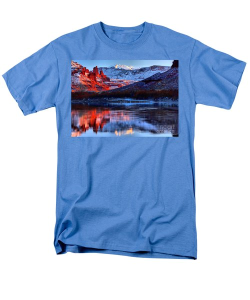 Men's T-Shirt  (Regular Fit) featuring the photograph Fisher Towers Sunset Winter Landscape by Adam Jewell