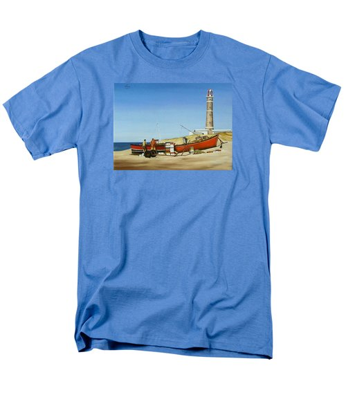 Fishermen By Lighthouse Men's T-Shirt  (Regular Fit) by Natalia Tejera