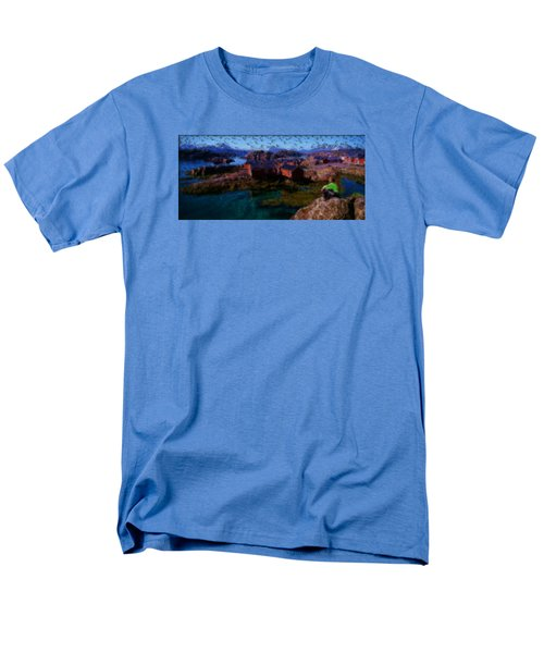 Men's T-Shirt  (Regular Fit) featuring the painting Fishermen Cabins by Mario Carini