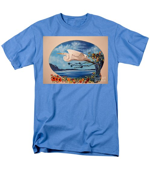 Men's T-Shirt  (Regular Fit) featuring the painting Flying Egret by Sigrid Tune