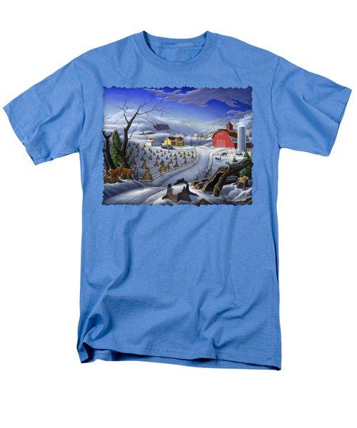 Folk Art Winter Landscape Men's T-Shirt  (Regular Fit) by Walt Curlee