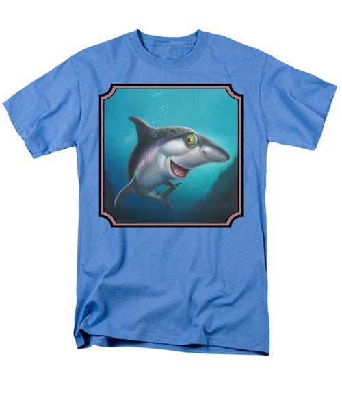 Friendly Shark Cartoony Cartoon - Under Sea - Square Format Men's T-Shirt  (Regular Fit)