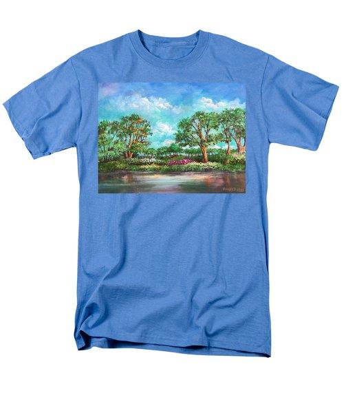 Men's T-Shirt  (Regular Fit) featuring the painting  Summer In The Garden Of Eden by Randol Burns