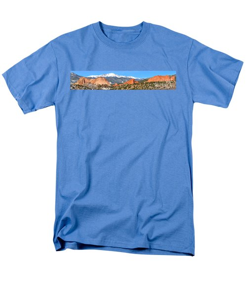 Men's T-Shirt  (Regular Fit) featuring the photograph Garden Of The Gods Red Rock Panorama by Adam Jewell