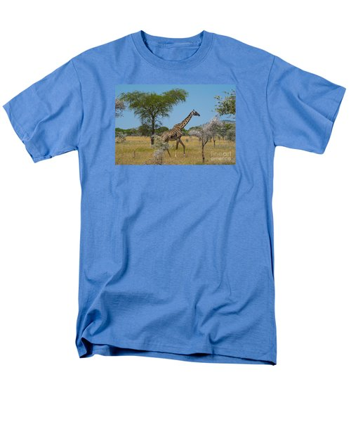 Men's T-Shirt  (Regular Fit) featuring the photograph Giraffe On The Move by Pravine Chester
