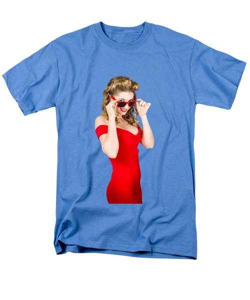 Girl Adjusting Glasses To Flashback A 1950s Look Men's T-Shirt  (Regular Fit) by Jorgo Photography - Wall Art Gallery