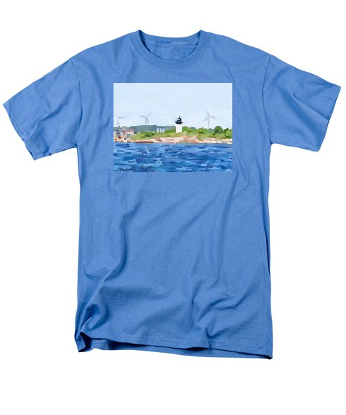 Gloucester Skyline From Harbor With Windmills And Ten Pound Island Lighthouse Men's T-Shirt  (Regular Fit) by Melissa Abbott