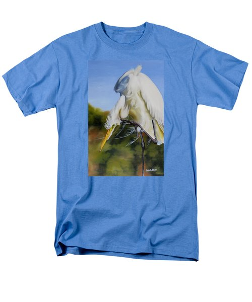 Men's T-Shirt  (Regular Fit) featuring the painting Great Egret In Fall by Phyllis Beiser