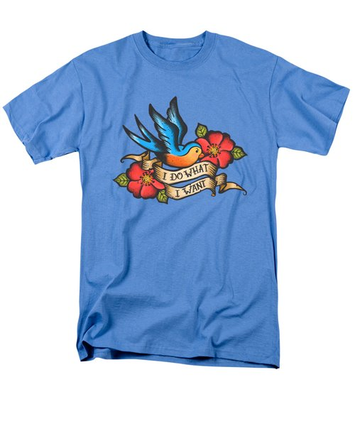 I Do What I Want Vintage Bluebird And Rose Tattoo Men's T-Shirt  (Regular Fit) by Little Bunny Sunshine