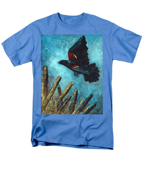 Men's T-Shirt  (Regular Fit) featuring the painting Jewel Among The Cattails by Suzanne McKee