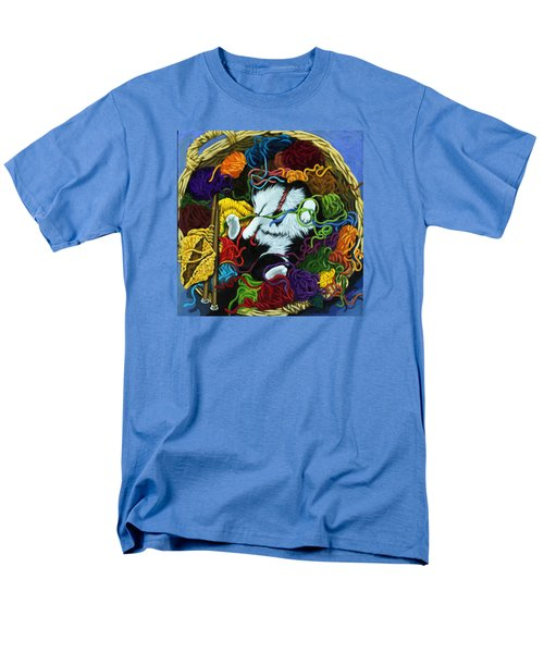 Men's T-Shirt  (Regular Fit) featuring the painting Knitter's Helper - Cat Painting by Linda Apple