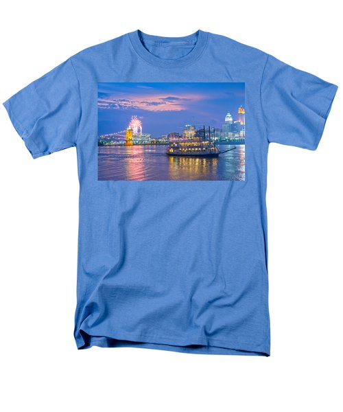 Laser Show Over Paul Brown Stadium  Men's T-Shirt  (Regular Fit) by Randall Branham