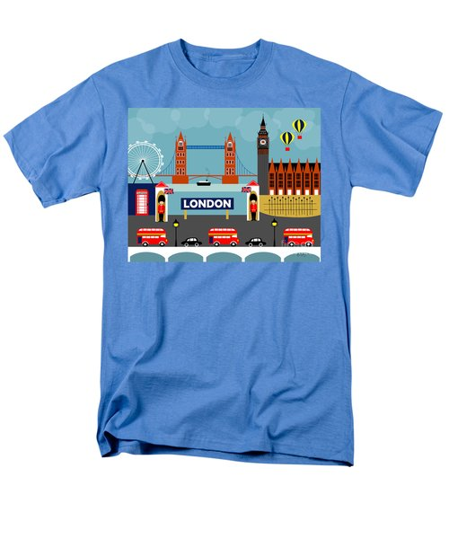 London England Horizontal Scene - Collage Men's T-Shirt  (Regular Fit) by Karen Young