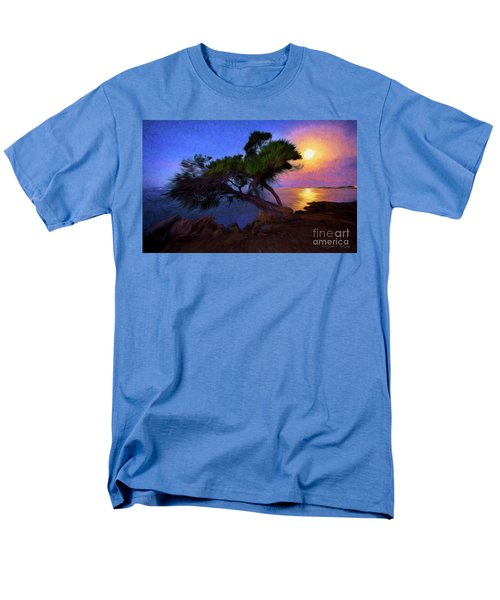 Men's T-Shirt  (Regular Fit) featuring the photograph Lone Tree On Pacific Coast Highway At Moonset by John A Rodriguez