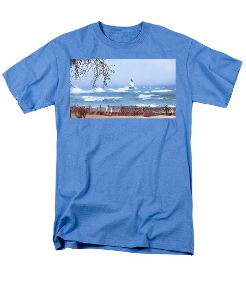 Ludington Winter Shore  Men's T-Shirt  (Regular Fit) by Dick Bourgault