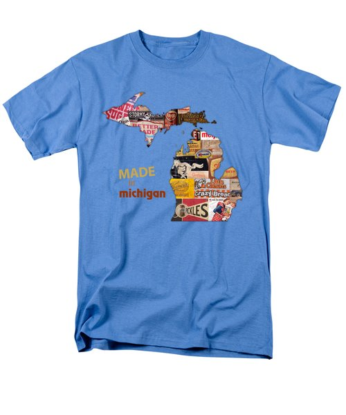 Made In Michigan Products Vintage Map On Wood Men's T-Shirt  (Regular Fit) by Design Turnpike
