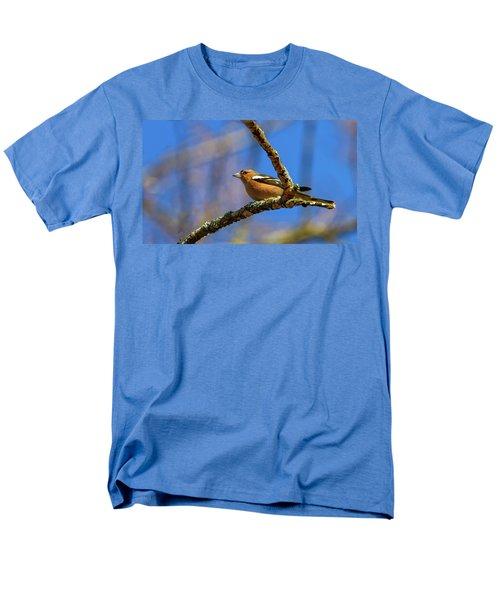 Male Common Chaffinch Bird, Fringilla Coelebs Men's T-Shirt  (Regular Fit) by Elenarts - Elena Duvernay photo