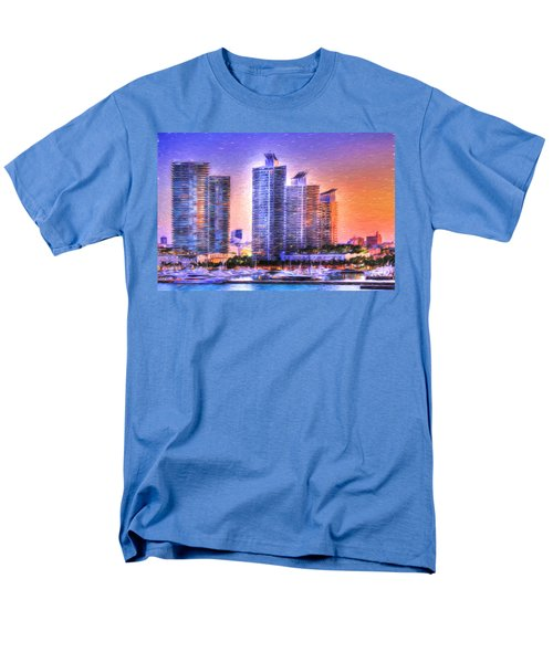 Men's T-Shirt  (Regular Fit) featuring the photograph Miami Skyline Sunrise by Shelley Neff