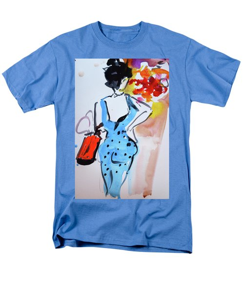 Model With Flowers And Red Handbag Men's T-Shirt  (Regular Fit) by Amara Dacer
