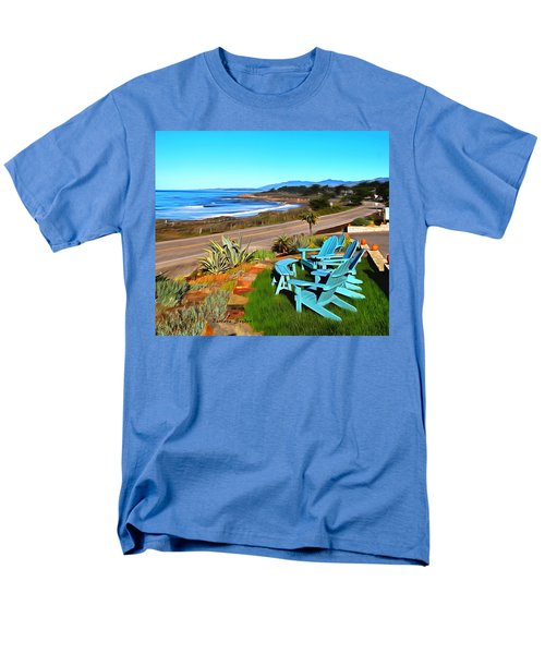 Men's T-Shirt  (Regular Fit) featuring the photograph Moonstone Beach Seat With A View Digital Painting by Barbara Snyder