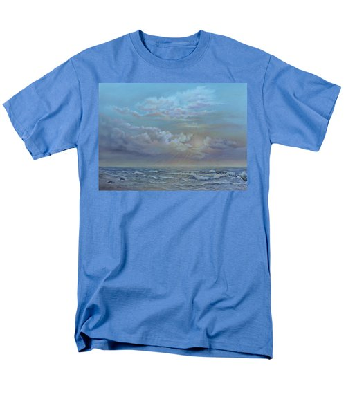 Men's T-Shirt  (Regular Fit) featuring the painting Morning At The Ocean by Luczay