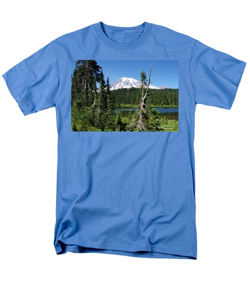 Mountain Lake And Mount Rainier Men's T-Shirt  (Regular Fit) by Ansel Price