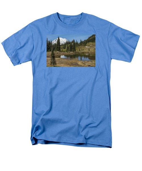 Mt Rainier Reflection Landscape Men's T-Shirt  (Regular Fit) by Chuck Flewelling