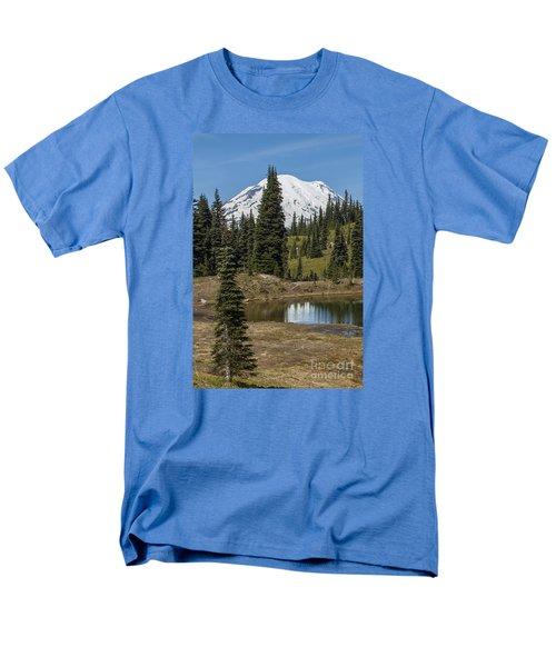 Mt Rainier Reflection Portrait Men's T-Shirt  (Regular Fit) by Chuck Flewelling