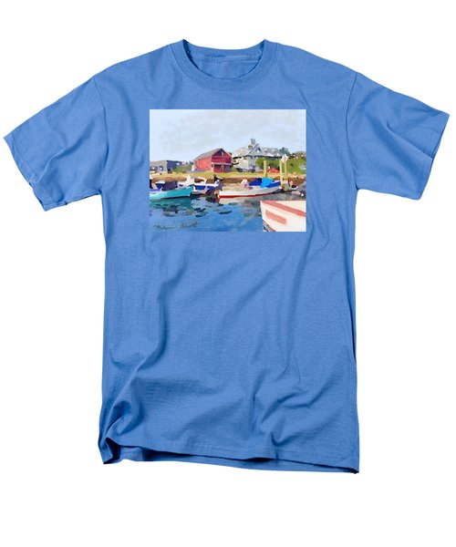 North Shore Art Association At Pirates Lane On Reed's Wharf From Beacon Marine Basin Men's T-Shirt  (Regular Fit) by Melissa Abbott