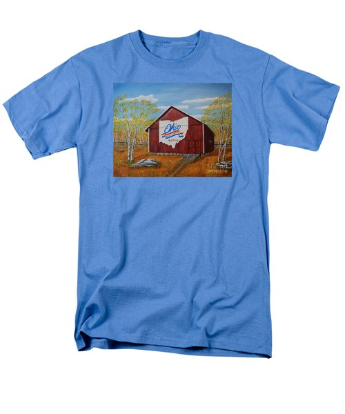 Men's T-Shirt  (Regular Fit) featuring the painting Ohio Bicentennial Barns 22 by Melvin Turner