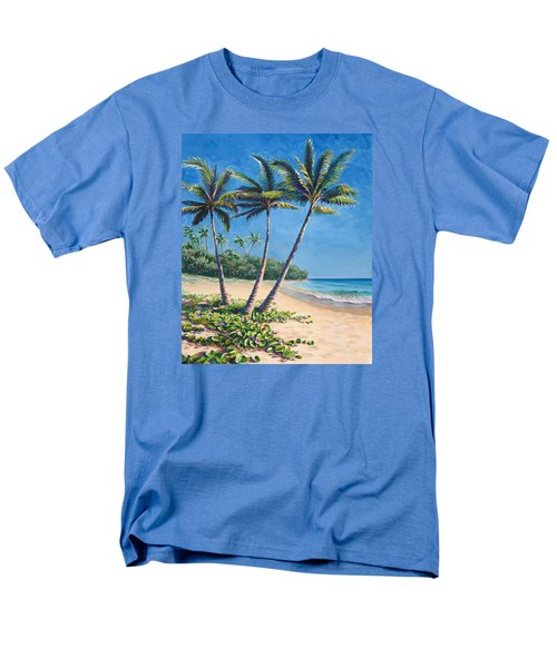 Men's T-Shirt  (Regular Fit) featuring the painting Tropical Paradise Landscape - Hawaii Beach And Palms Painting by Karen Whitworth