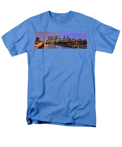Men's T-Shirt  (Regular Fit) featuring the photograph Philadelphia Philly Skyline At Dusk From Near South Color Panorama by Jon Holiday