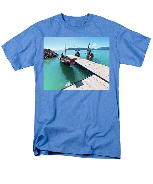 Men's T-Shirt  (Regular Fit) featuring the photograph Pier At Khanom by Atiketta Sangasaeng