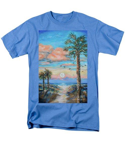 Pink Moon Rise Men's T-Shirt  (Regular Fit) by Linda Olsen