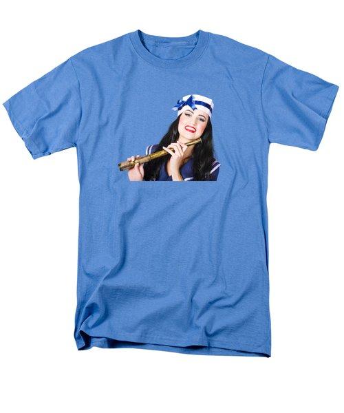 Pinup Sailor Girl Holding Telescope Men's T-Shirt  (Regular Fit) by Jorgo Photography - Wall Art Gallery