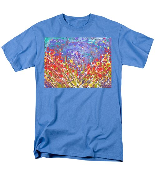 Poppies Abstract Meadow Painting Men's T-Shirt  (Regular Fit)