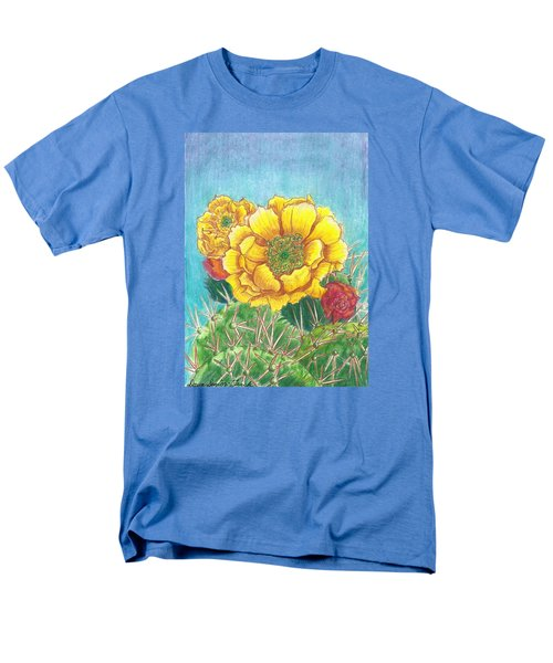 Men's T-Shirt  (Regular Fit) featuring the drawing Prickly Pear Cactus Flowering by Dawn Senior-Trask