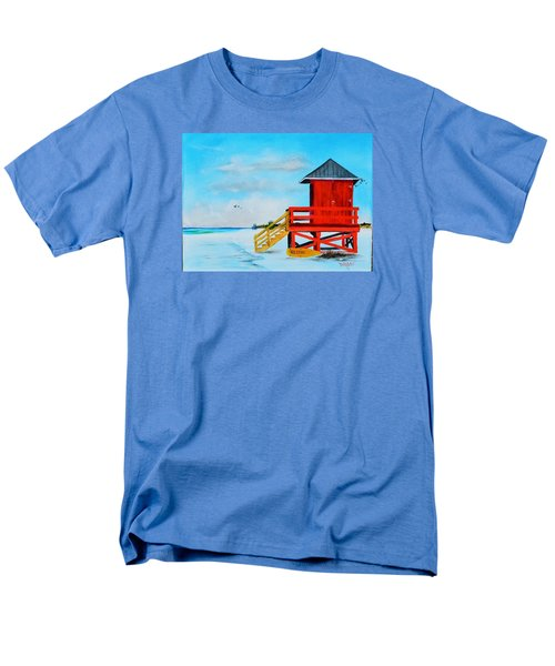Red Life Guard Shack On The Key Men's T-Shirt  (Regular Fit) by Lloyd Dobson