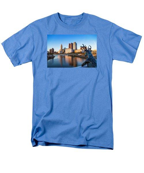Men's T-Shirt  (Regular Fit) featuring the photograph Rich Street Bridge Columbus by Alan Raasch