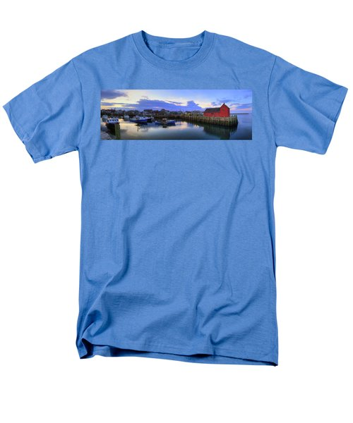Men's T-Shirt  (Regular Fit) featuring the photograph Rockport Harbor Sunset Panoramic With Motif No1 by Joann Vitali