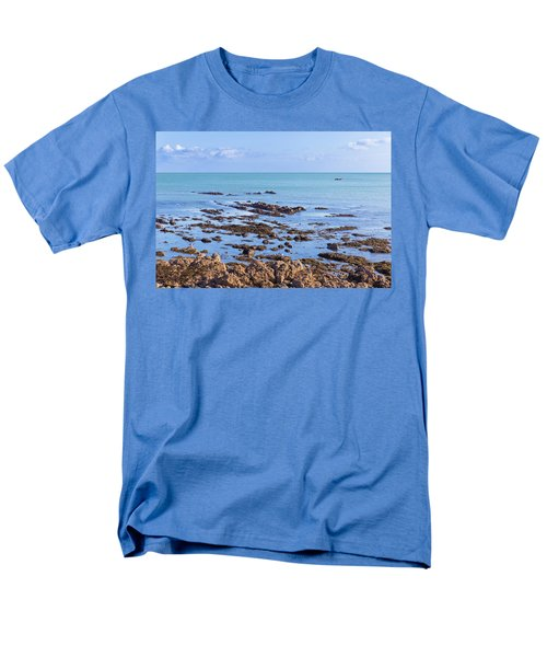 Men's T-Shirt  (Regular Fit) featuring the photograph Rocks And Seaweed And Seagulls In The Irish Sea At Howth by Semmick Photo