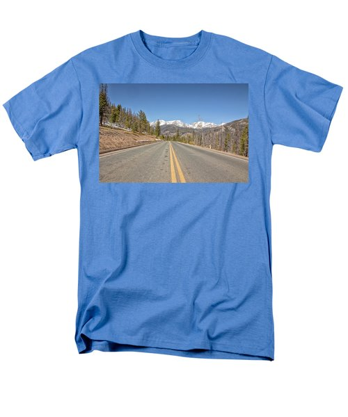 Men's T-Shirt  (Regular Fit) featuring the photograph Rocky Mountain Road Heading Towards Estes Park, Co by Peter Ciro
