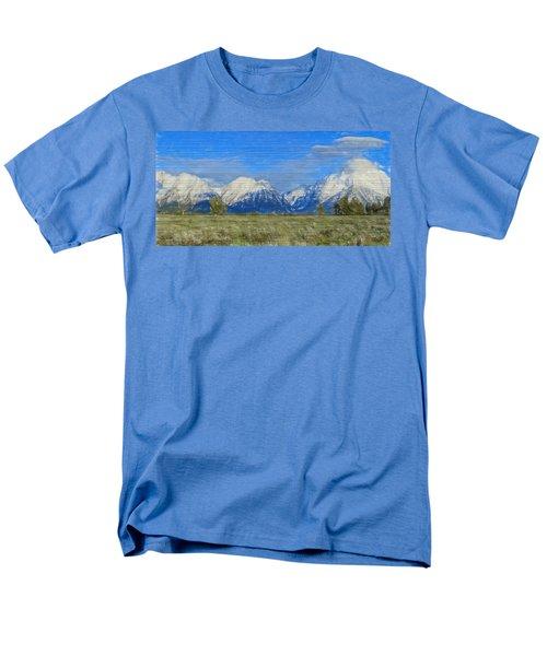 Rustic Grand Teton Range On Wood Men's T-Shirt  (Regular Fit) by Dan Sproul