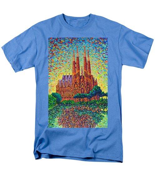 Sagrada Familia Barcelona Modern Impressionist Palette Knife Oil Painting By Ana Maria Edulescu Men's T-Shirt  (Regular Fit) by Ana Maria Edulescu