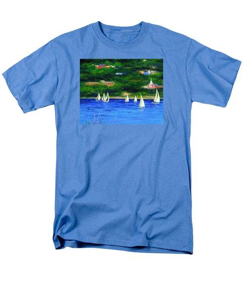 Sailboats On Hudson Men's T-Shirt  (Regular Fit) by Anne Marie Brown