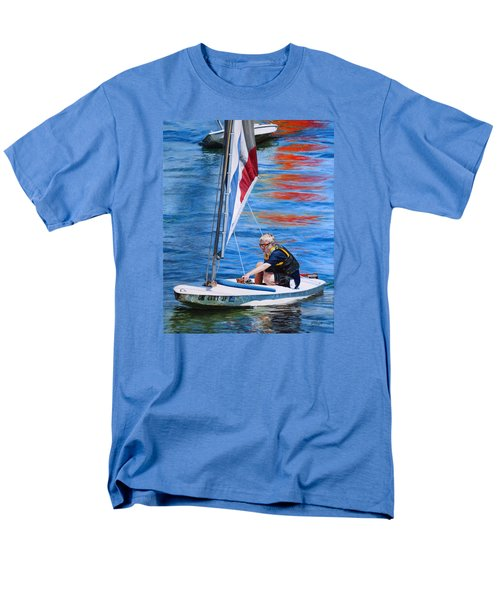 Men's T-Shirt  (Regular Fit) featuring the painting Sailing On Lake Thunderbird by Joshua Martin