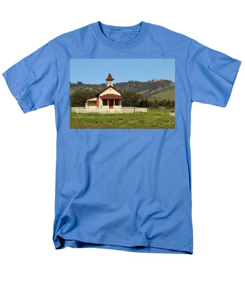 Men's T-Shirt  (Regular Fit) featuring the photograph San Simeon - Castle And Schoolhouse by Art Block Collections