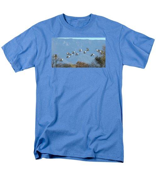 Sandhill Cranes In Flight Men's T-Shirt  (Regular Fit) by Alan Toepfer